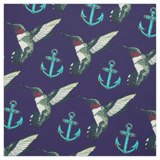 Red ruby throated hummingbird anchor Fabric blue