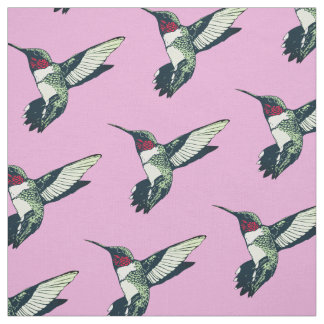 Red ruby throated hummingbird anchor Fabric pink