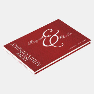 Red Ruby Wedding Anniversary for 40th Damask Photo Guest Book