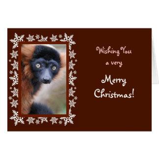 Red Ruffed Lemur Christmas Card