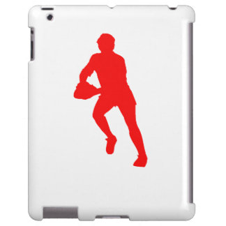 Red Rugby Player Silhouette
