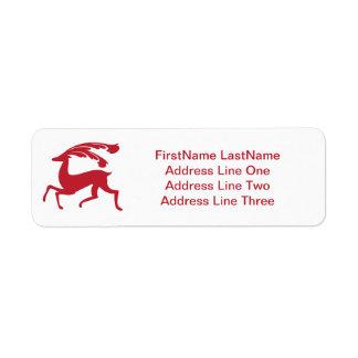 Red Running Christmas Deer Return Address Label