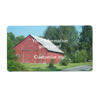 Red Rural Barn Shipping Label
