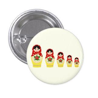 Red russian matryoshka nesting dolls 1 inch round button