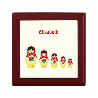 Red russian matryoshka nesting dolls trinket box