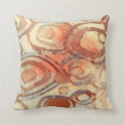 Red Rust Blue Taupe Squared Circles Throw Pillow
