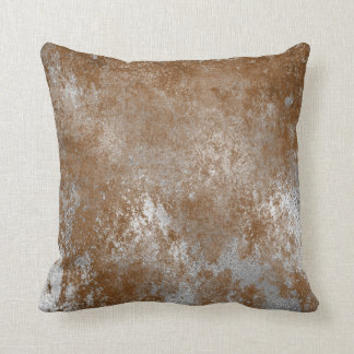 Red Rust Distressed Grungy Silver Cement Gray Throw Pillow