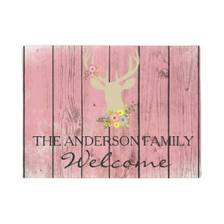 Red Rustic Buck Silhouette With Flowers  Door Mat