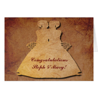 Red Rustic Wedding Card for Lesbian Brides