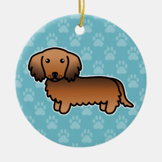 Red Sable Long Coat Dachshund Cartoon Dog Ceramic Ornament