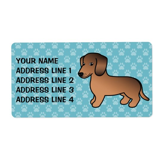 Red Sable Smooth Coat Dachshund Cartoon Dog Shipping Label