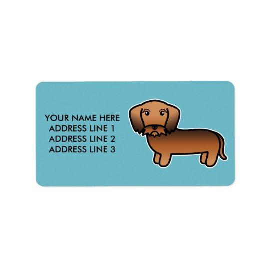 Red Sable Wirehaired Dachshund Cartoon Dog Label