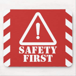 Red Safety First Mouse Pad