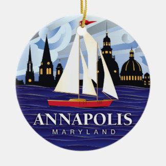Red Sailboat Annapolis MD Coastal Ceramic Ornament