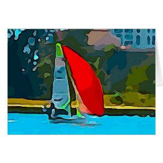 Red Sailboat Card