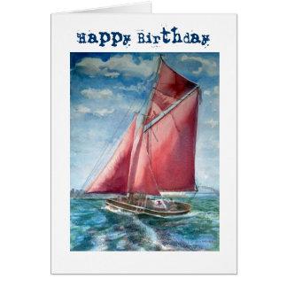 Red sailed yacht birthday card