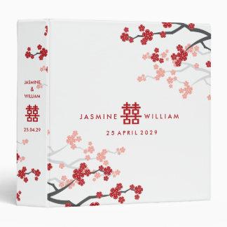 Red Sakura Cherry Blossoms Modern Chinese Wedding 3 Ring Binders