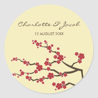 Red Sakura Cherry Blossoms Wedding Favor Gift Tag Stickers