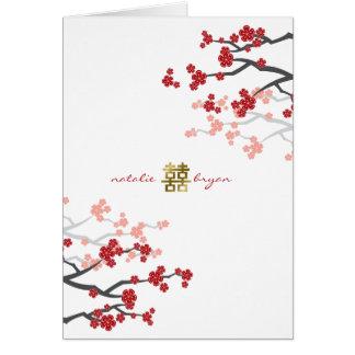 Red Sakura Double Happiness Chinese Wedding Card