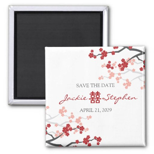 Red Sakura Double Happiness Save The Date Magnet