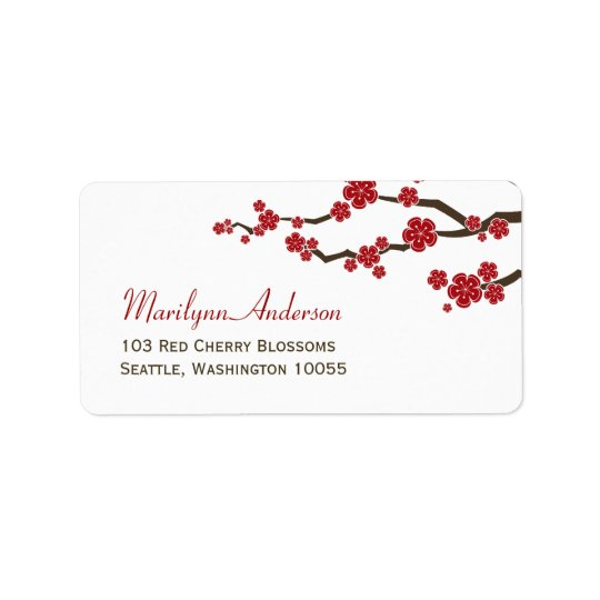 Red Sakura Flowers Cherry Blossoms Asian Wedding Label