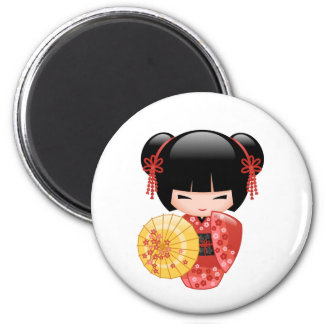 Red Sakura Kokeshi Doll - Cute Japanese Geisha Magnet