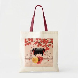 Red Sakura Kokeshi Doll - Japanese Geisha