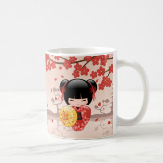 Red Sakura Kokeshi Doll - Japanese Geisha Coffee Mug