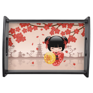 Red Sakura Kokeshi Doll - Japanese Geisha Serving Tray