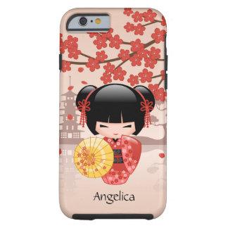 Red Sakura Kokeshi Doll - Japanese Geisha Tough iPhone 6 Case