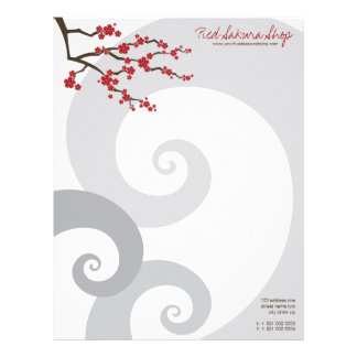 Red Sakura Oriental Cherry Blossoms Letterhead