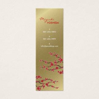 Red Sakura Oriental Cherry Blossoms Profile Card