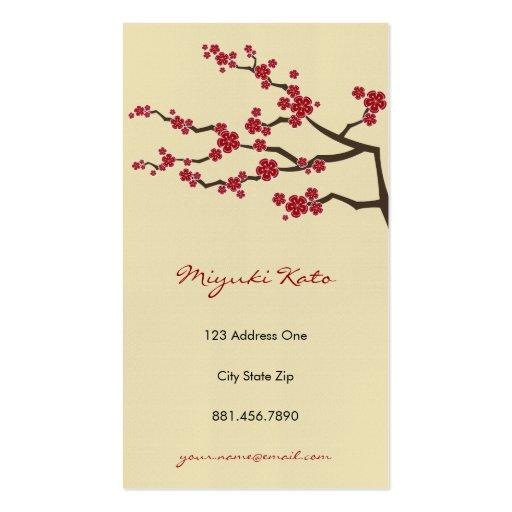 Red Sakuras Oriental  Zen Cherry Blossoms Pack Of Standard Business Cards