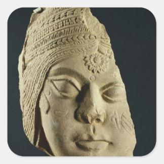 Red sandstone head of Yakshi, Bharhut, 2nd century Square Sticker