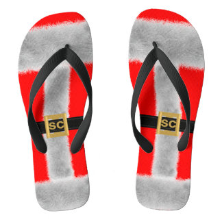 Red Santa Festive Flip Flops - Custom Initials