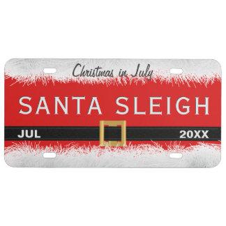 Red Santa Sleigh License Plate