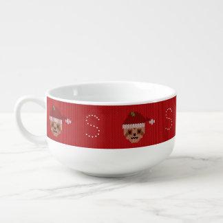 Red Santa Sloth Monogram Ugly Sweater Soup Mug