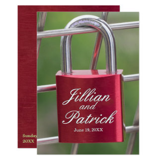Red Sapphire Lovers Padlock Chain Link Wedding Card