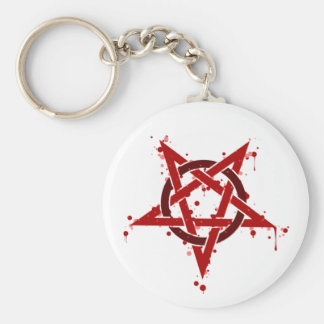 Red Satanic Spotted Pentagram Basic Round Button Keychain