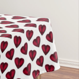 Red Satin Hearts Valentine Tablecloth