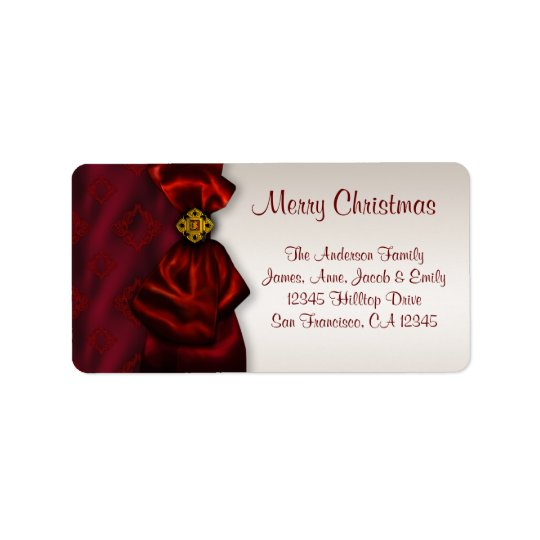 Red Satin & Ivory Christmas Holiday Address Labels