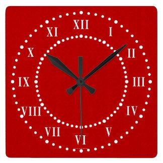 Red Satin Look Roman Numeral Wall Clock