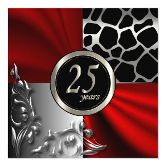 Red Satin & Silver 25 Year Party Invitation