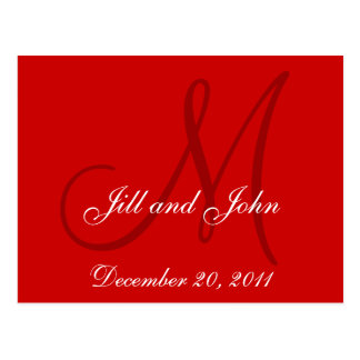 Red Save the Date Custom Monogram Postcards