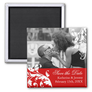 Red Save the Date Wedding Magnet