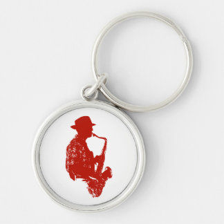Red sax player side view outline wearing hat Silver-Colored round keychain