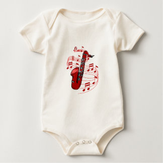 Red Sax With Music Notes Baby Bodysuit