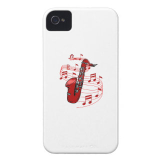 Red Sax With Music Notes iPhone 4 Cases