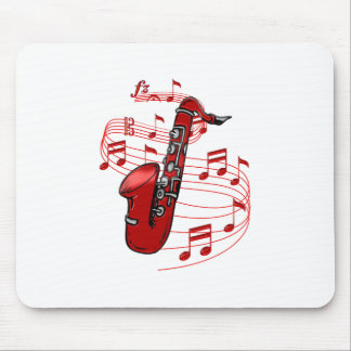 Red Sax With Music Notes Mouse Pad