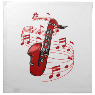 Red Sax With Music Notes Napkin